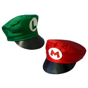 Kit Com 2 Boina Chapéu Touca Super Mario Bros Mario & Luigi