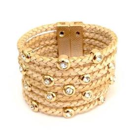 Pulseira Alice Monteiro Bracelete Em Couro Trançado 395 2701e88c69556