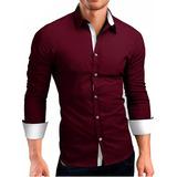 Kit 3 Camisa Social Masculina Slim Fit Camiseta Elastano