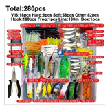 Kit Pesca Iscas Artificiais + Alicate + Linha +estojo 280pçs
