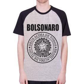 Camisa Raglan Bolsonaro Brasil Acima De Tudo - 100% Algodão