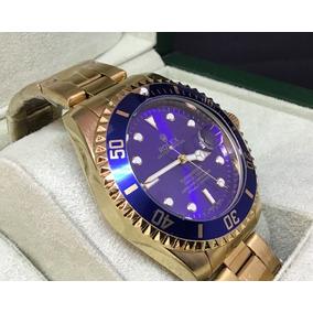 Relógio Masculino Azul Prata E Azul Dourado Aço