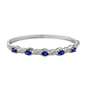 Brazalete C/zafiro Azul Artificial Y Diamante En Plata Fina