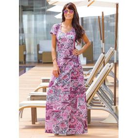 Vestido Longo Moda Evangélica Étnico E Floral Frete Grátis