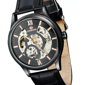 Relógio Casual Masculino Pulseira De Couro Preta
