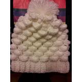 Gorro Tejido A Mano Crochett C  Crema P  Malvadisco C caida 9d732c8c52c