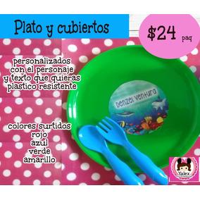 40 Plato Y Cubiertos Personalizado Plastico Resistente Paq