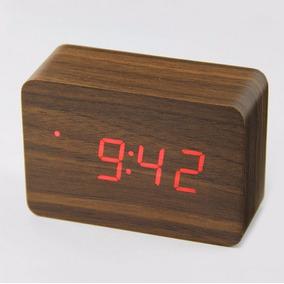 Mini Relógio De Mesa Decoração Madeira Digital Retangular