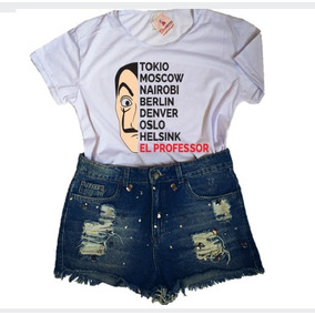 Roupa Feminina Blusa Baby Look Série La Casa De Papel Barato