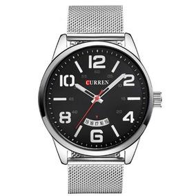Relógio Masculino Curren 8236 Analógico Preto E Prata Com Nf
