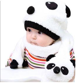 c4095f72de3ae Touca Infantil Panda Unissex Gorro Com Cachecol Importado