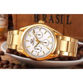 4226e3a6866 Relógio Quartzo Dourado De Luxo Dos Famosos Chenxi Masculino