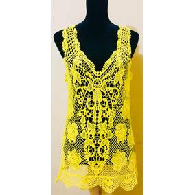 Blusa Tejida Transparente Color Amarilla