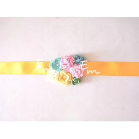 Cinturon Corsage Embarazada Baby Shower Flores Tejidas