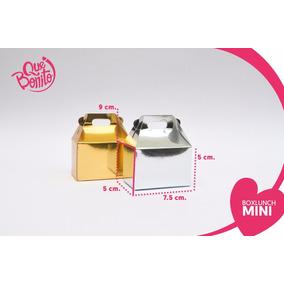 Lonchera Boxlunch Caja Cajita Metalizada Oro Y Plata Mini