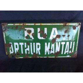 Placa De Rua Antiga Arthur Mantau Esmaltada Frete Grátis