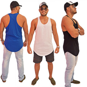 ed3c29a2b2b4e Camiseta Kit 5 Regata Masculina Longline Oversized Swag