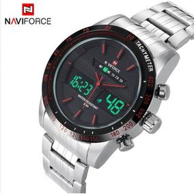 Relógio Pulso Masc naviforce analóg digital inox vermelho