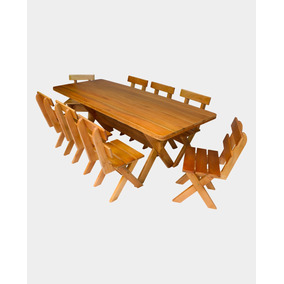 Mesa Churrasco Madeira Maciça Eucalipto Com 8 Cadeiras 2,00m