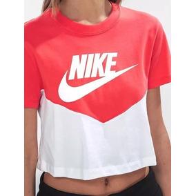 Playera Mujer Nike Heritage Blanco Coral Originales Casual