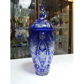 Lindo Antigo Potiche Cristal Baccarat Azul Diamante Munddibr