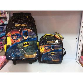 Batman Kit Mochila De Rodinha Com Lancheira