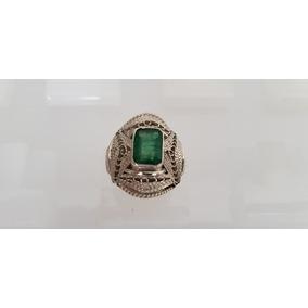 Anel Prata 950 Pedra Preciosa Esmeralda Confecção O Artesão!