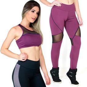 Conjunto Top + Calça Tulle Bojo Fitness Academia 117 E 166