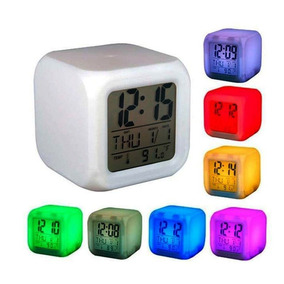 Reloj Despertador Cubo Luminoso Digital 6 Colores Led Alarma