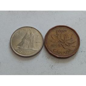 Lote De 2 Monedas De Canada 1 + 10 Cent 1977