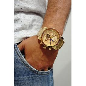 1f557e02c0e Relogio Masculino Grande Dourado E Prata - Relógios De Pulso no ...