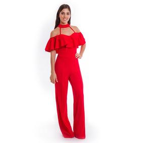 Palazzo Jumpsuit Rojo Mujer Dama Devendi Denim Co.