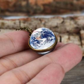 Hermoso Collar Unisex Con Diseño Del Planeta Tierra Envió Gr