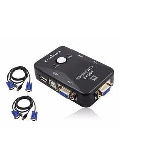 Chaveador Kvm Usb Switch 2 Portas Vga/ + Kit 2 Cabos Kvm Usb
