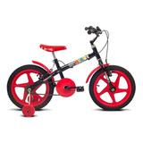 Bicicleta Aro 16 Verden Rock - Preto E Vermelha