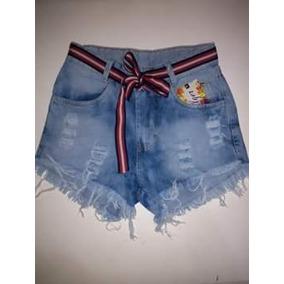 Short Shortiho Jeans Sarja Feminino Verão Hot Pants Cos Alto