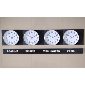 f2d8819e341 Kit 6 Relógio D Parede Fuso Horário Cromado 29cm D 240 Cm