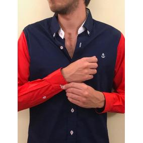 Camisa Marino Mangas Color Rojo