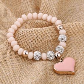 Hermosa Pulsera De Corazón Piedras Y Cristal