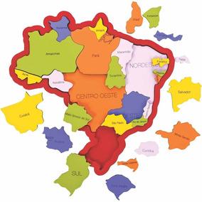 Quebra Cabeça Madeira Mapa Do Brasil Cidades E Regiões