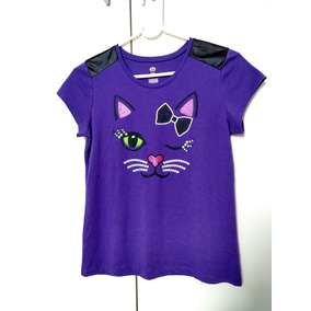 Camiseta Infantil Feminina 14 Roxa Estampa De Gatinho Roupa