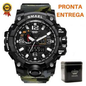 Smael Relógio Camuflado Militar Esporte Dual Time À Prova D