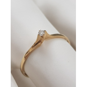 Anel Solitário Fininho Ouro 18k Pedra De Diamante Brilhante