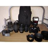Equipo Profesional Nikon Camara+4 Lentes+fash+maleta