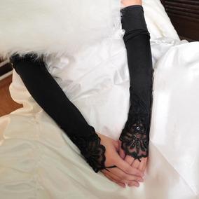 Black - 1pair Mujer Elástico Boda Novia Flor Desfile La-8845