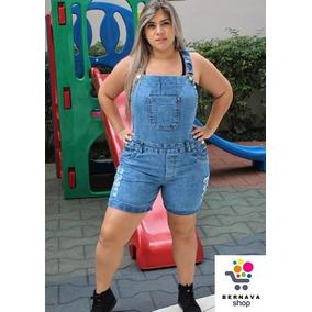 Jardineira Macaquinho Short Jeans Feminino Plus Size Até 54