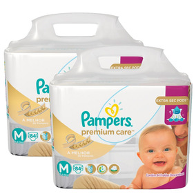 Kit 2 Fraldas Pampers Premium Care M 168 Tiras