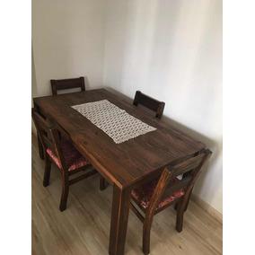 Mesa De Jantar Em Madeira 1,60x0,90 Com 4 Cadeiras