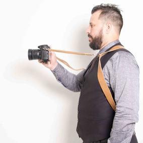 Alça Dupla Split Em Couro Legitimo Cameras Canon Nikon Sony