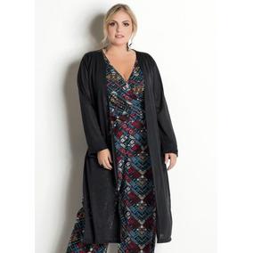 81c5140da Roupa Feminia Cardigan Plus Size Preto Overzed